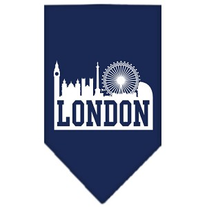 London Skyline Screen Print Bandana Navy Blue Small