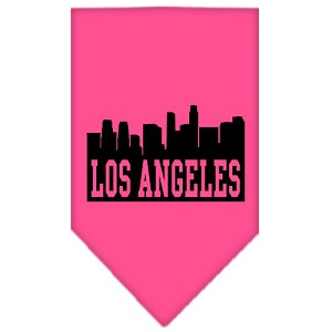 Los Angeles Skyline Screen Print Bandana Bright Pink Small