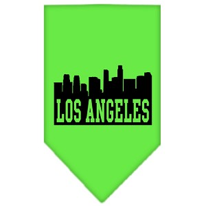 Los Angeles Skyline Screen Print Bandana Lime Green Small