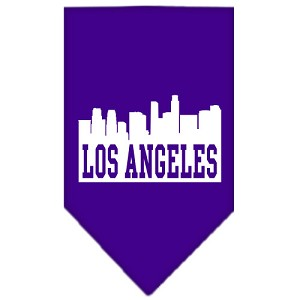Los Angeles Skyline Screen Print Bandana Purple Large