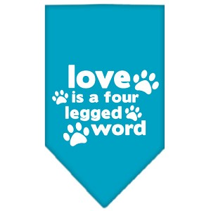 Love is a Four Leg Word Screen Print Bandana Turquoise Large