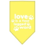 Love is a Four Leg Word Screen Print Bandana Yellow Small