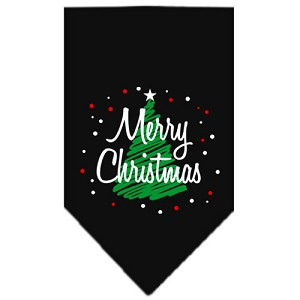 Scribble Merry Christmas Screen Print Bandana Black Large