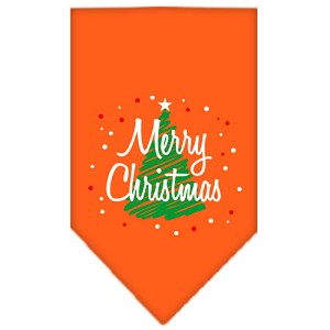 Scribble Merry Christmas Screen Print Bandana Orange Large