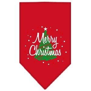 Scribble Merry Christmas Screen Print Bandana Red Small
