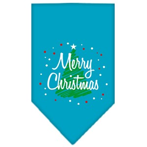 Scribble Merry Christmas Screen Print Bandana Turquoise Large