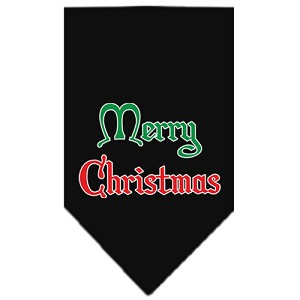 Merry Christmas Screen Print Bandana Black Large
