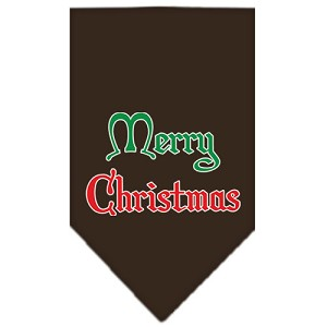 Merry Christmas Screen Print Bandana Cocoa Small