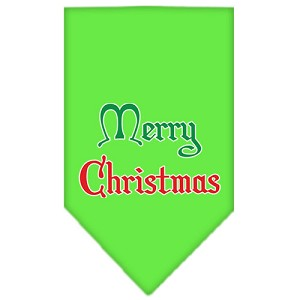 Merry Christmas Screen Print Bandana Lime Green Small
