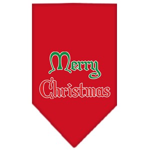 Merry Christmas Screen Print Bandana Red Small