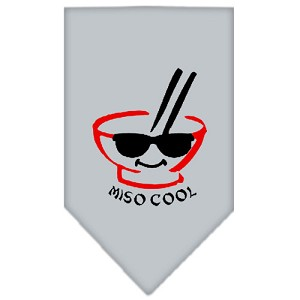 Miso Cool Screen Print Bandana Grey Small