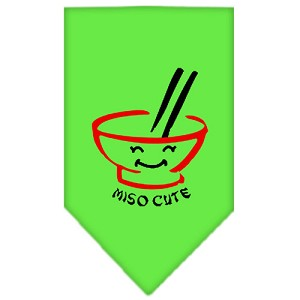 Miso Cute Screen Print Bandana Lime Green Small