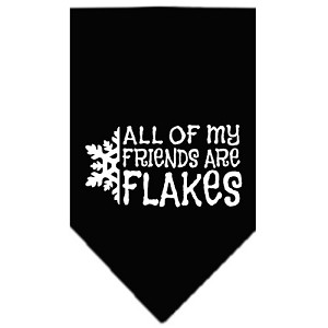All my friends are Flakes Screen Print Bandana Black Small