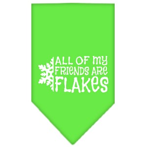 All my friends are Flakes Screen Print Bandana Lime Green Large