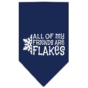 All my friends are Flakes Screen Print Bandana Navy Blue Small