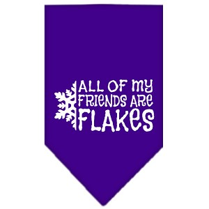 All my Friends are Flakes Screen Print Bandana Purple Small