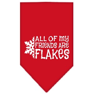 All my friends are Flakes Screen Print Bandana Red Small