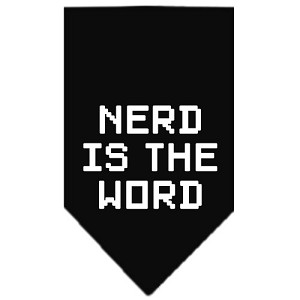 Nerd is the Word Screen Print Bandana Black Large