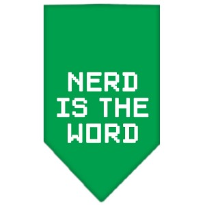 Nerd is the Word Screen Print Bandana Emerald Green Large