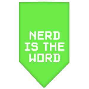 Nerd is the Word Screen Print Bandana Lime Green Large