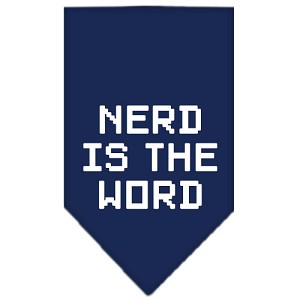Nerd is the Word Screen Print Bandana Navy Blue Small