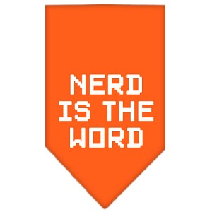 Nerd is the Word Screen Print Bandana Orange Small