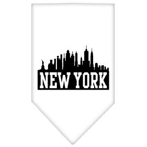 New York Skyline Screen Print Bandana White Small