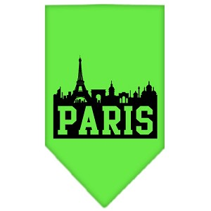 Paris Skyline Screen Print Bandana Lime Green Large