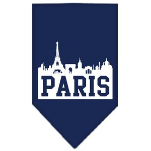 Paris Skyline Screen Print Bandana Navy Blue large
