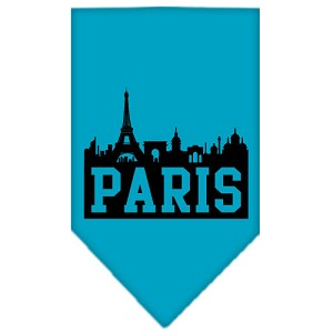 Paris Skyline Screen Print Bandana Turquoise Small
