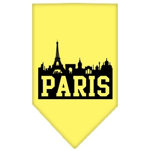 Paris Skyline Screen Print Bandana Yellow Small