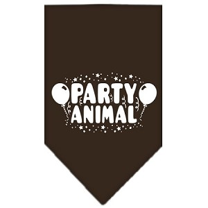 Party Animal Screen Print Bandana Cocoa Large