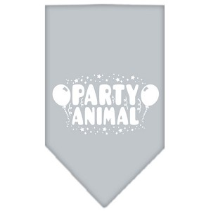 Party Animal Screen Print Bandana Grey Small