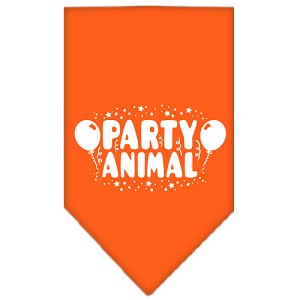Party Animal Screen Print Bandana Orange Large