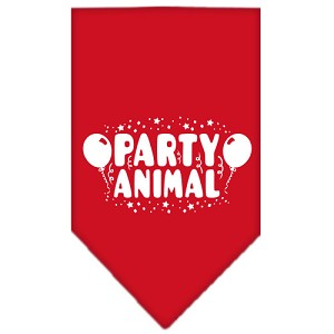Party Animal Screen Print Bandana Red Small