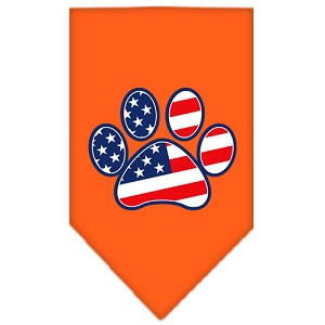 Patriotic Paw Screen Print Bandana Orange Large
