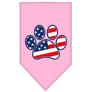 Patriotic Paw Screen Print Bandana Light Pink Small