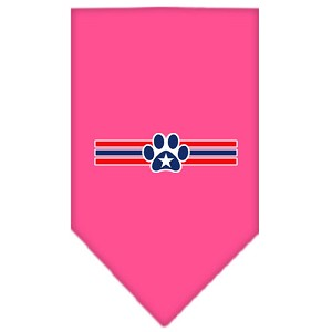 Patriotic Star Paw Screen Print Bandana Bright Pink Large