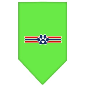 Patriotic Star Paw Screen Print Bandana Lime Green Large