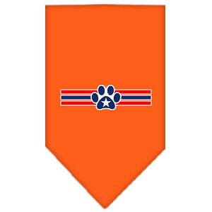 Patriotic Star Paw Screen Print Bandana Orange Small