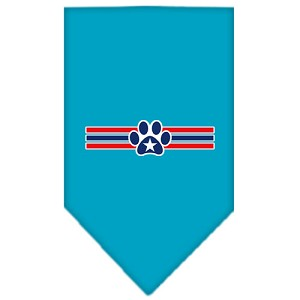 Patriotic Star Paw Screen Print Bandana Turquoise Small