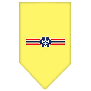 Patriotic Star Paw Screen Print Bandana Yellow Small