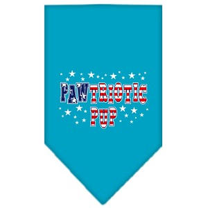 Pawtriotic Pup Screen Print Bandana Turquoise Large