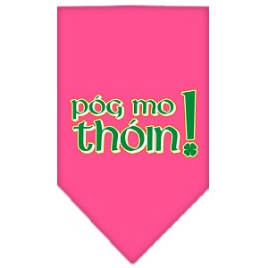 Pog Mo Thoin Screen Print Bandana Bright Pink Large