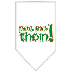 Pog Mo Thoin Screen Print Bandana White Large