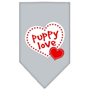 Puppy Love Screen Print Bandana Grey Large