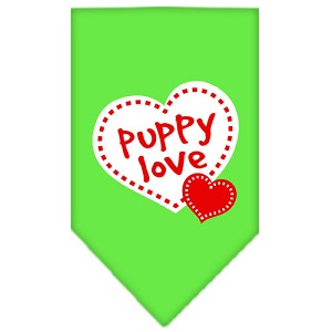 Puppy Love Screen Print Bandana Lime Green Large