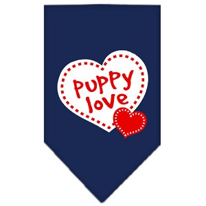 Puppy Love Screen Print Bandana Navy Blue Large