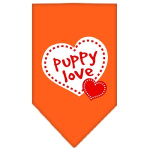 Puppy Love Screen Print Bandana Orange Large