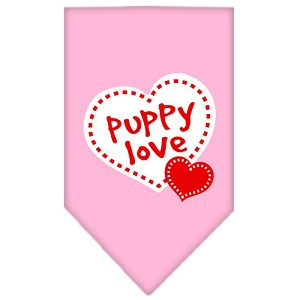 Puppy Love Screen Print Bandana Light Pink Large